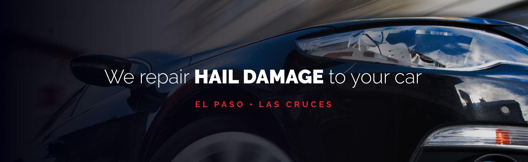 black car with hail damage dents