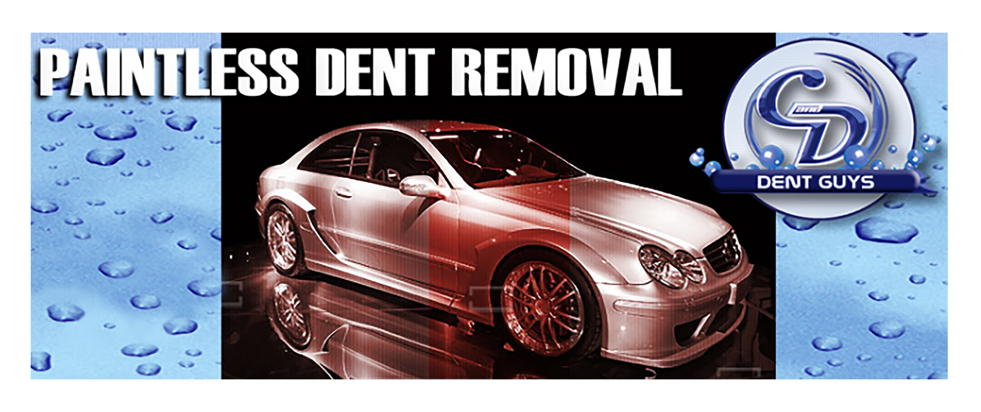 A silver Mercedes Benz sedan with the words Paintless Dent Removal above it and the C & D Dent Guys logo to its right.